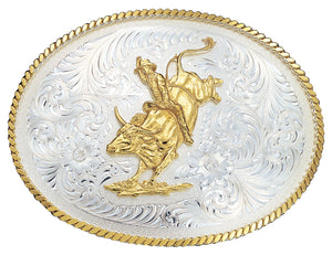 (MS2120) Large Silver Engraved Western Belt Buckle with Bull Rider