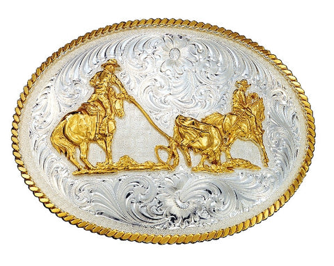 (MS2130) Western Silver & Gold Team Ropers Belt Buckle