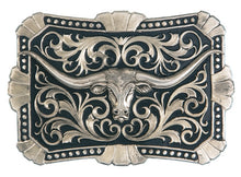 Load image into Gallery viewer, (MS22107B) True Blue Trailblazer Longhorn Silver Belt Buckle