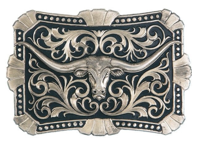 (MS22107B) True Blue Trailblazer Longhorn Silver Belt Buckle