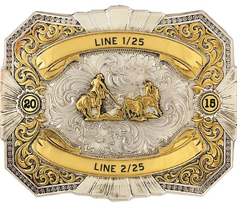 (MS24512RTG-625) Western Heirloom Gold Trophy Belt Buckle -Team Roping