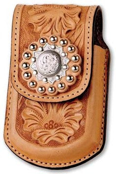 (MS25101) Western Natural Tooled Razor Cell Phone Holder