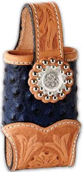 (MS25118) Western Cell Phone Holder 2-Tone Blue Ostrich