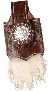 (MS25120) Western Tooled Mahogany Wooly Cell Phone Holder