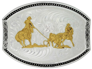 (MS28200-200) Western Cut Oval Belt Buckle with Team Roper