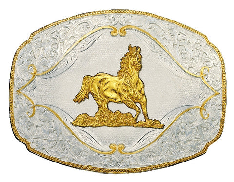 (MS2920-463) Gold Flourish Western Belt Buckle with Galloping Horse