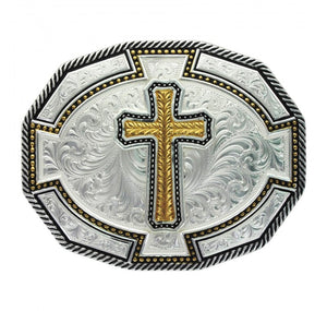(MS29810-929XL) Western Buckle with Wheat Cross