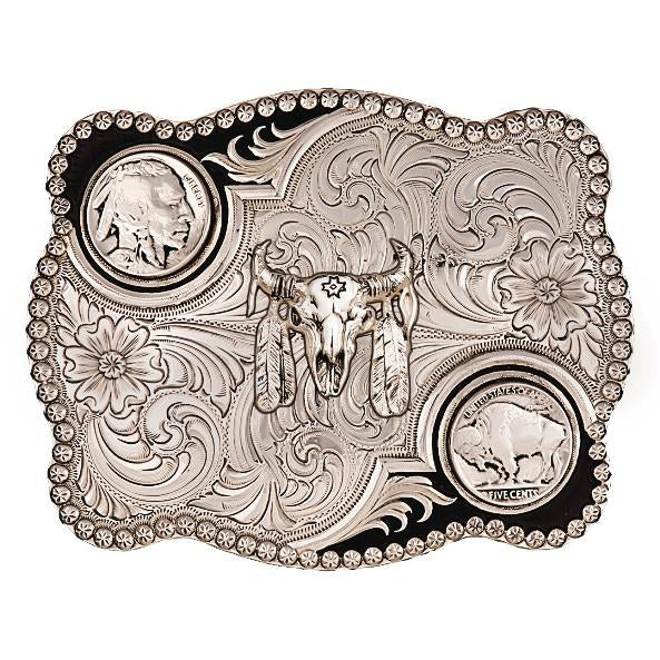 (MS3610-447M) Antiqued Buffalo Nickel Belt Buckle with Buffalo Skull
