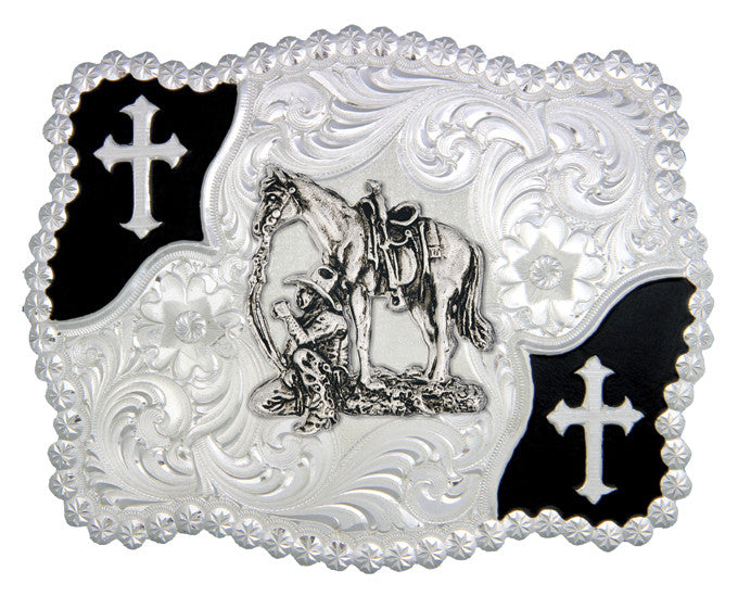 (MS3611-456) Christian Flourish Scallop Shape Belt Buckle - Cowboy & Horse