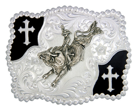 (MS3611-528) Christian Flourish Scallop Shape Belt Buckle - Bull Rider