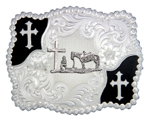 (MS3611-731M) Christian Flourish Scallop Shape Belt Buckle - Praying Cowboy