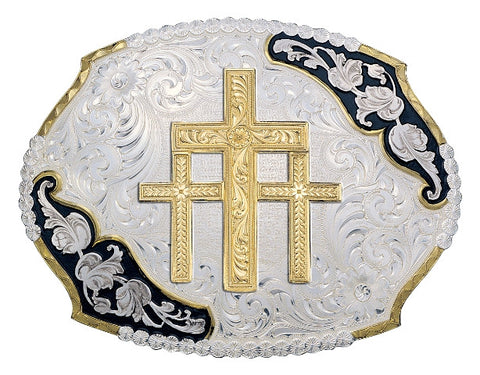 (MS3810-101648BK) Antique Leaves Western Belt Buckle with Gold Triple Cross by Montana Silversmiths