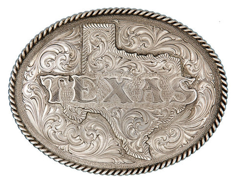 "(MS5630RTS) ""All-Texas"" Engraved Belt Buckle by Montana Silversmiths"