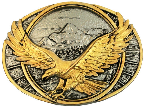 (MS60791P) Eagle Two-Tone Western Belt Buckle by Montana Silversmiths