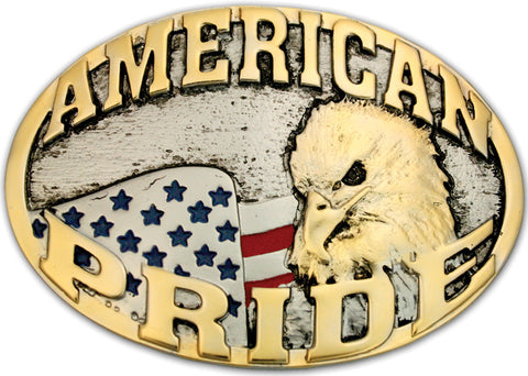 "(MS60816P) ""American Pride"" Two Tone Belt Buckle by Montana Silversmith"