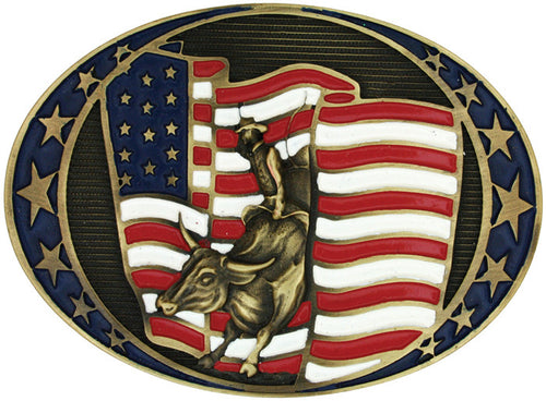 (MS60962C) Bull Rider & American Flag Belt Buckle by Montana Silversmiths