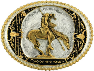 "(MS60972P) ""End of the Trail"" Two Tone Western Belt Buckle by Montana Silversmiths"