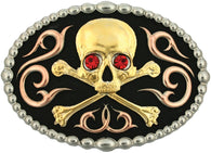 (MS60992) Western Tri-Color Skull & Crossbones Belt Buckle by Montana Silversmiths