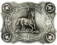 (MS61000) Scalloped Running Horse Western Antiqued Belt Buckle by Montana Silversmiths