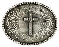 (MS61013) Western Floral Cross Antiqued Silver Belt Buckle by Montana Silversmiths