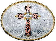 (MS61074) Western Tri-Color Cross Belt Buckle by Montana Silversmiths
