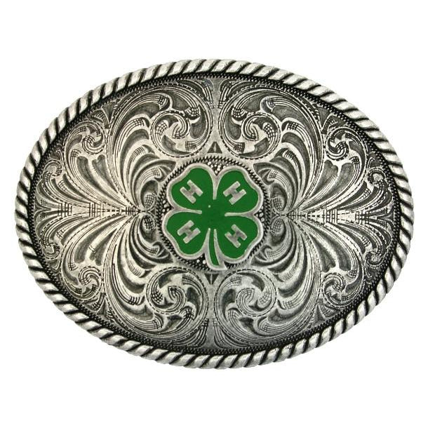 (MS61306) Western 4-H Emblem Antiqued Silver Belt Buckle by Montana Silversmiths