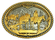 (MS61333P) Pack Horses and Rider Two-Tone Western Belt Buckle by Montana Silversmiths