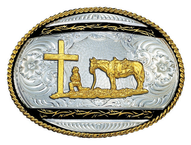 (MS6135-731BK) Barbed Edge on Black Western Belt Buckle - Praying Cowboy