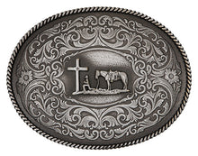 Load image into Gallery viewer, (MS61364MA-731M) Gothic West Gunmetal Christian Cowboy Belt Buckle