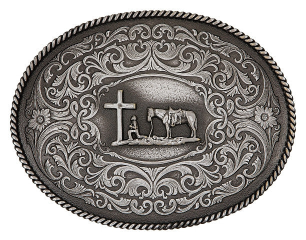 (MS61364MA-731M) Gothic West Gunmetal Christian Cowboy Belt Buckle