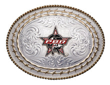 Load image into Gallery viewer, (MS6139S-PBR3F) Western PBR Bull Logo Twisted Rope & Barbwire Belt Buckle
