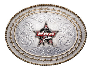 (MS6139S-PBR3F) Western PBR Bull Logo Twisted Rope & Barbwire Belt Buckle