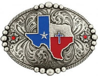 (MS61544) Texas Design Classic Antiqued Belt Buckle by Montana Silversmiths