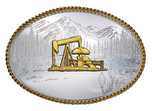 Load image into Gallery viewer, (MS6250-548) Etched Mountains Western Belt Buckle with Oil Well