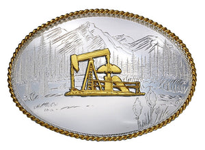 (MS6250-548) Etched Mountains Western Belt Buckle with Oil Well