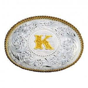 "(MS700) ""Choose Your Initial"" Silver Engraved Gold Trim Western Belt Buckle by Montana Silvermsiths"