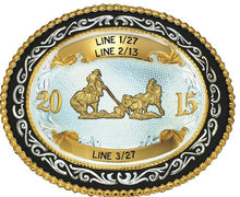 Load image into Gallery viewer, (MS7543) Western Two-Tone Trophy Belt Buckle with Team Ropers