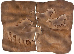 (MS77753) Stone Metal Horse Wall Hanging