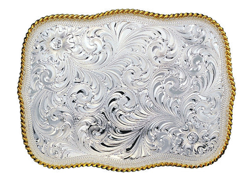 (MS860) Western Large Scalloped Silver Belt Buckle by Montana Silversmiths