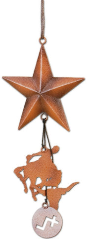 (MS95660) Western Copper Christmas Ornament with Star, Bronc Rider & Longhorn