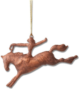 "(MS95737) ""Saddle Bronc"" Western Copper Christmas Ornament"