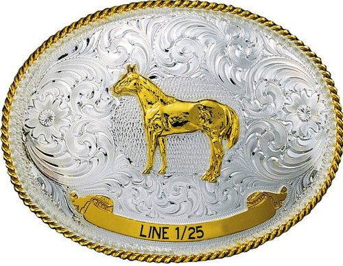 (MS991) Western Two-Tone Trophy Buckle