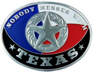 "(MSA213S) ""Nobody Messes With Texas"" Star Concho Belt Buckle by Montana Silversmiths"