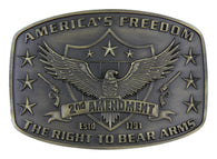 "(MSA272) ""2nd Amendment"" Western Belt Buckle by Montana Silversmiths"