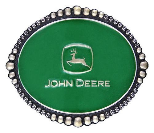 (MSA335JDP) John Deere Classic Green Belt Buckle with Beads & Berry Trim