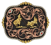 (MSA392T) Western Team Ropers Tri-Color Belt Buckle