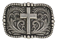 (MSA435) Western Cross over Pinpoint Filagree Belt Buckle