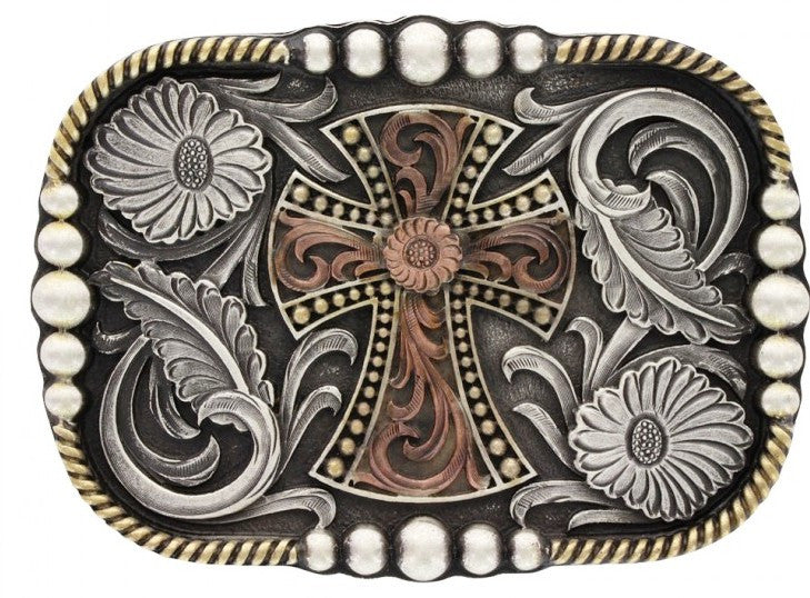(MSA521T) Western Tri-Colored Antiqued Cross Belt Buckle