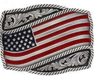 (MSA590P) Waving American Flag Western Belt Buckle