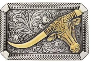 "(MSA622) ""Leaning Steer & Twisted Rope"" Western Rectangular Belt Buckle"